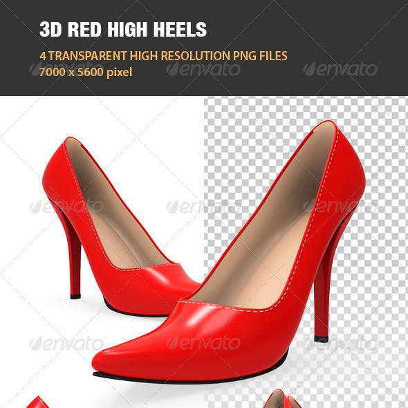 3D Red High Heel Shoes