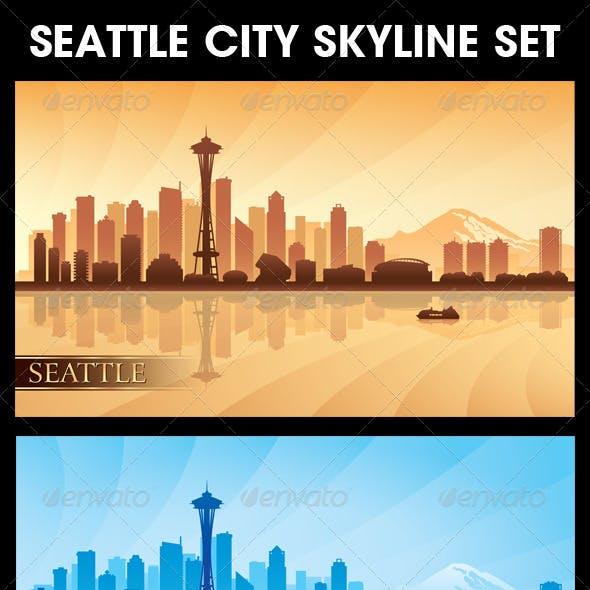 Seattle City Skyline Silhouettes Set