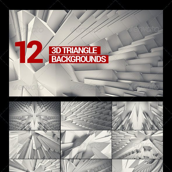 12 3D Crystal/Abstract/White Triangle Backgrounds