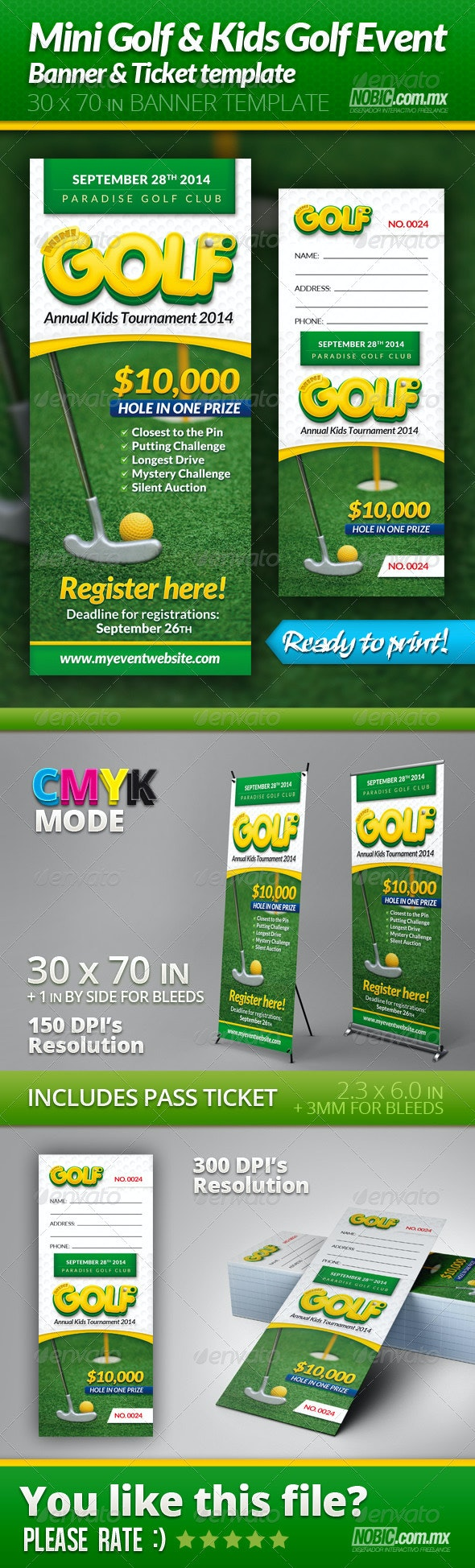 Mini Golf and Kids Golf Event Banner and Ticket - Signage Print Templates