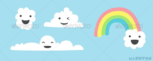 Assorted Stylized Happy Cartoon Cloud Characters with Rainbow - Characters Illustrations