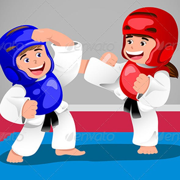 Kids Practicing Taekwondo