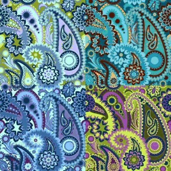 Set of  Seamless Pattern Paisley Background.