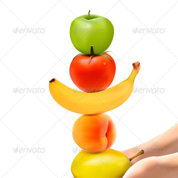 Hands Holding a Pyramid of Healthy Fruit