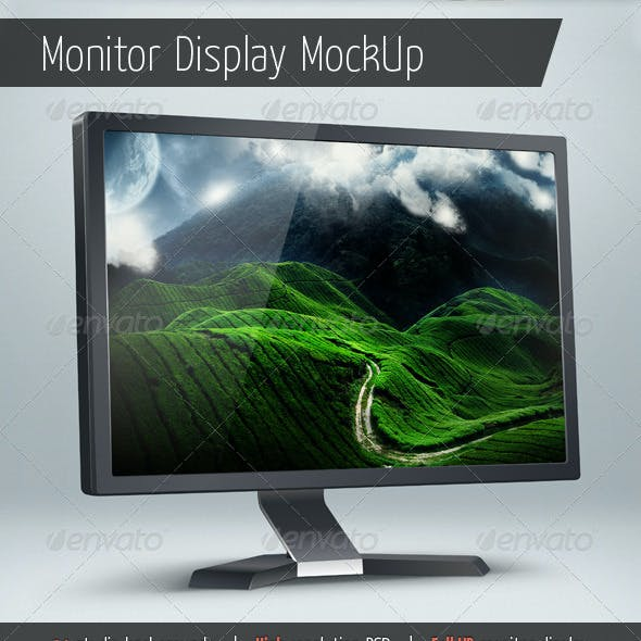 Monitor Display Mockup With Backgrounds