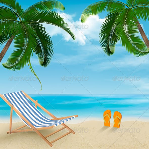 Travel Background with Palm Leaves on Beach
