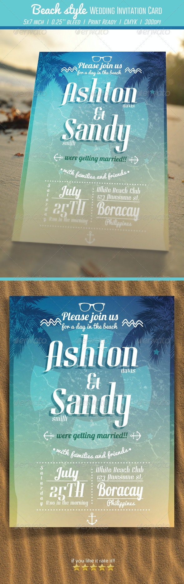 Beach Style Wedding Invitation Card - Weddings Cards & Invites
