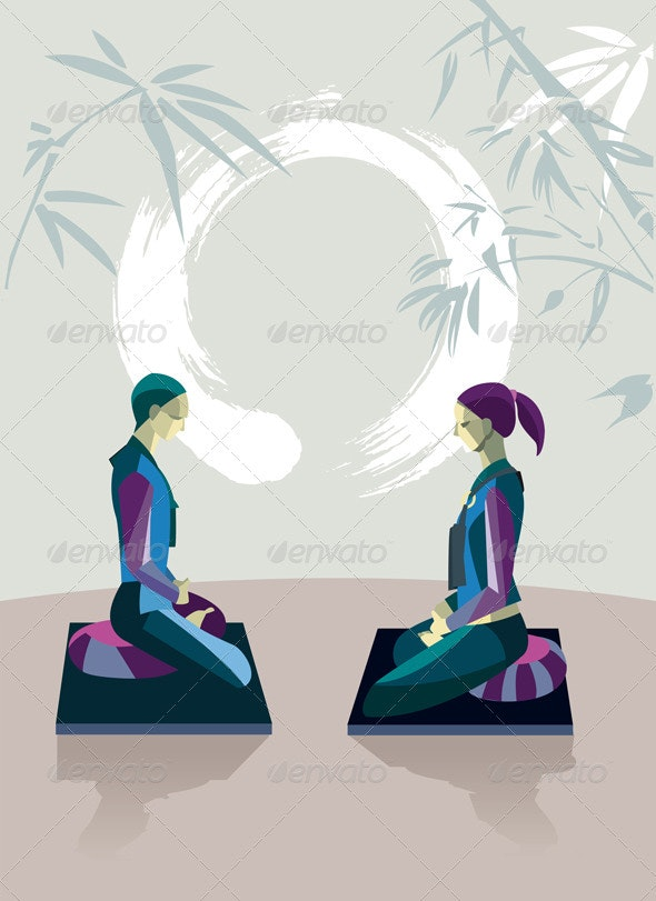 Man and Woman Meditating with Enso  - Religion Conceptual