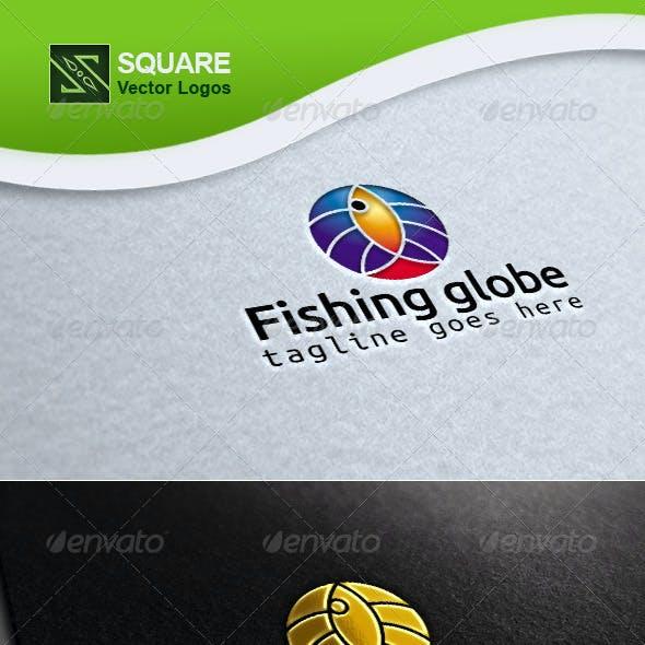 Fish, Globe Vector Logo Template