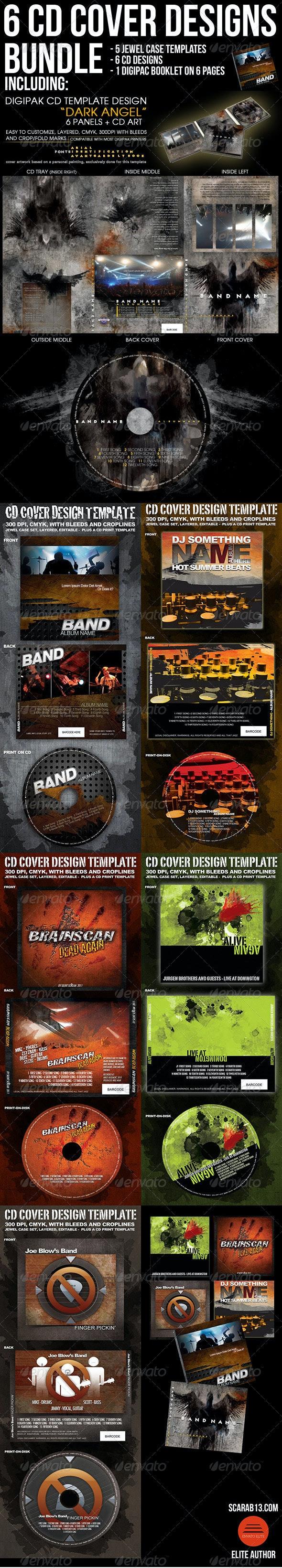 6 CD Cover Design Template Bundle - CD & DVD Artwork Print Templates