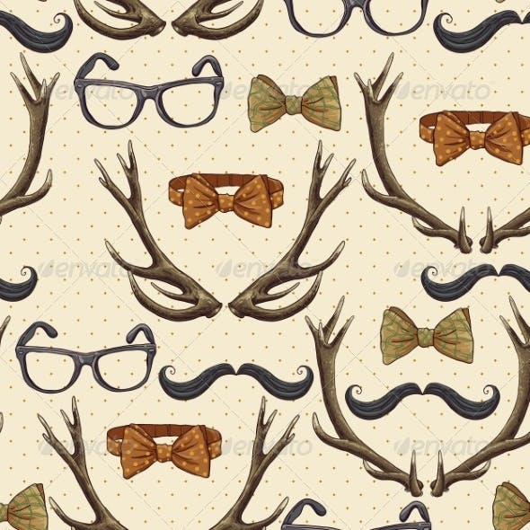 Seamless Hipster Vintage Background with Antlers