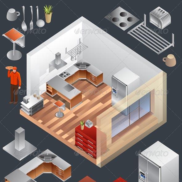 kitchen Isometric Vector