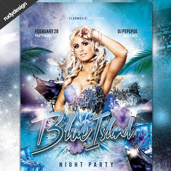 Blue Island Night Club Party Flyer