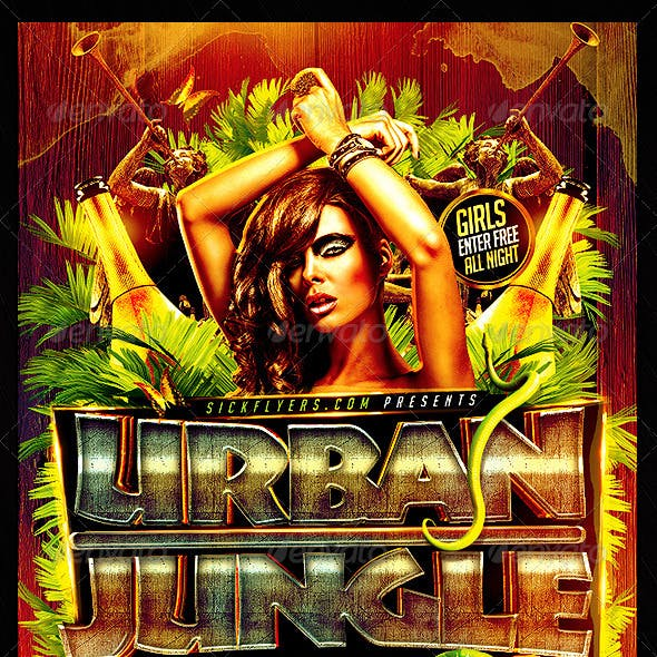 Jungle Party Flyer PSD