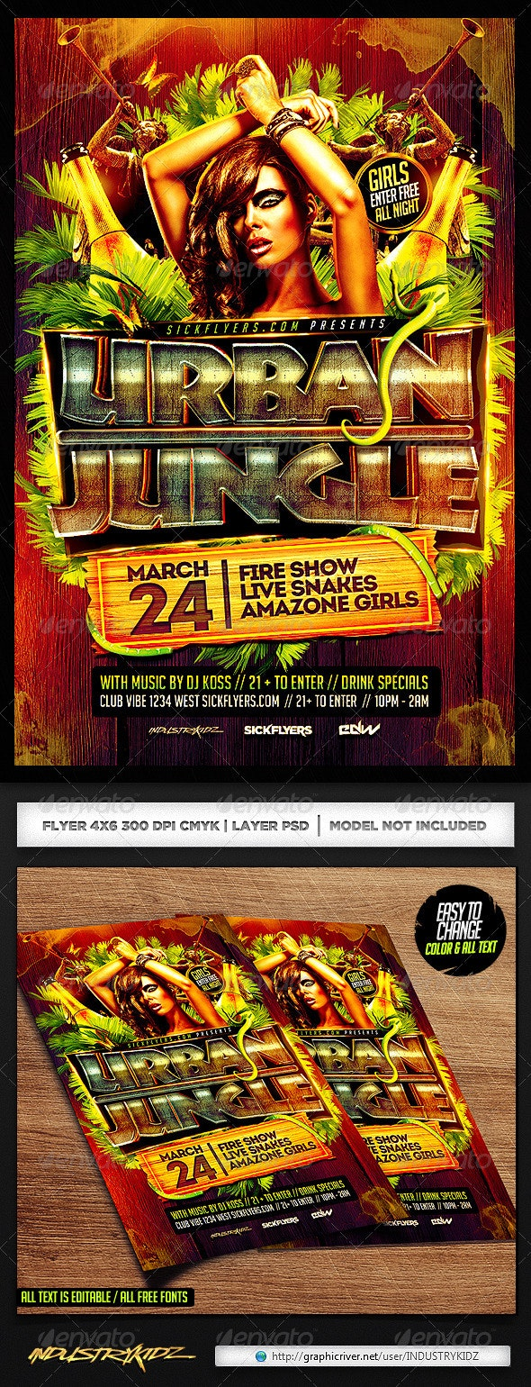 Jungle Party Flyer PSD - Clubs & Parties Events