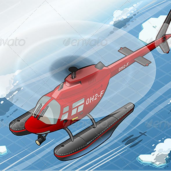 Isometric Emergency Helicopter in Front View