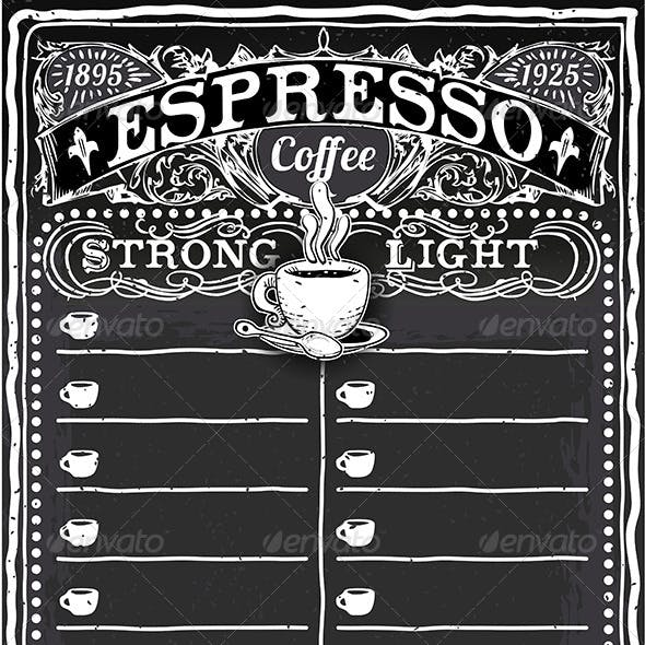 Vintage Hand Drawn Blackboard for Espresso Menu