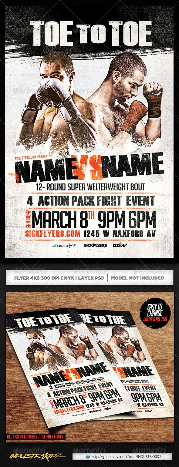 Boxing Flyer Template PSD - Sports Events
