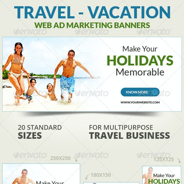 Travel - Vacation Web Ad Marketing Banners Vol 2