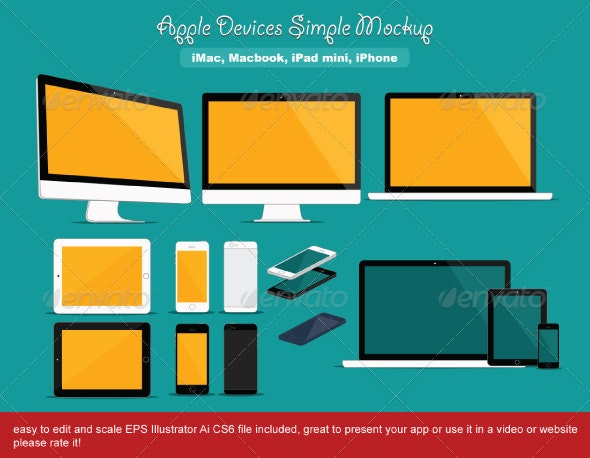 Apple Devices Simple Mockup - Technology Conceptual