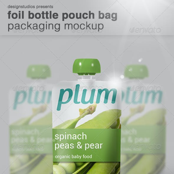 Foil Bottle Pouch Bag Packaging Mock-Up