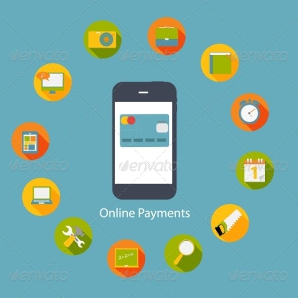 Online Payments Flat Concept Vector Illustration