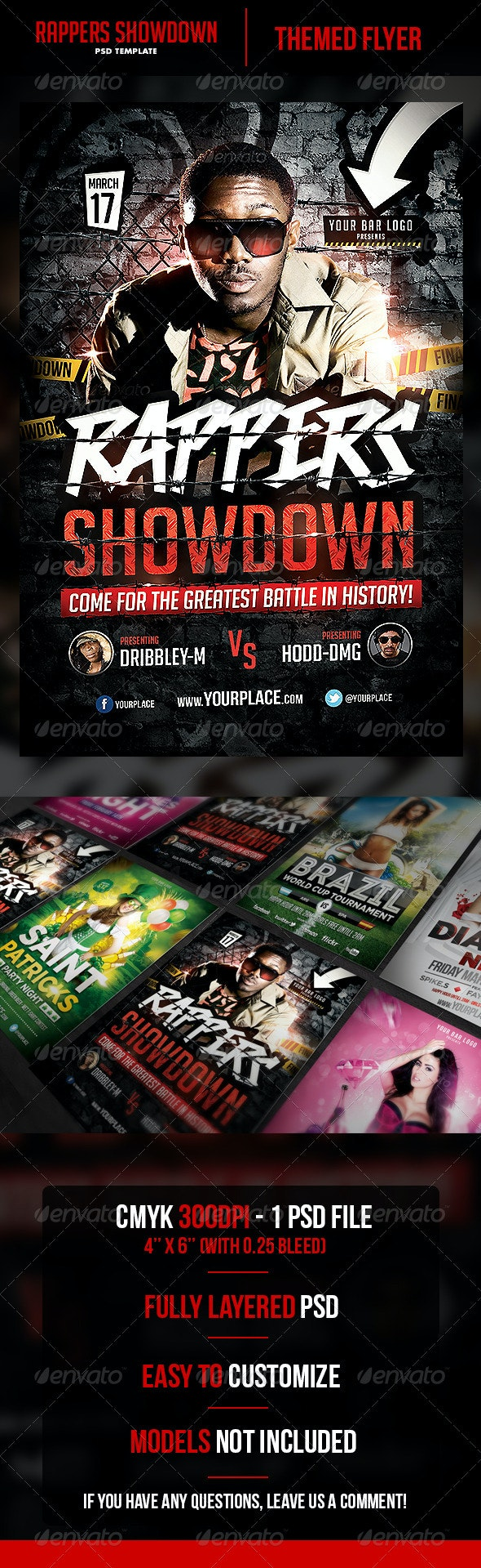 Rappers Showdown Flyer Template  - Flyers Print Templates