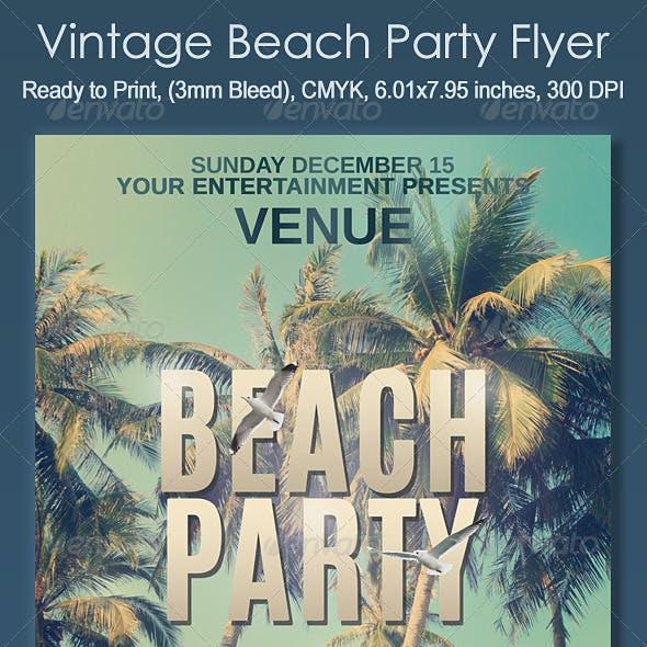 Vintage Beach Party Flyer