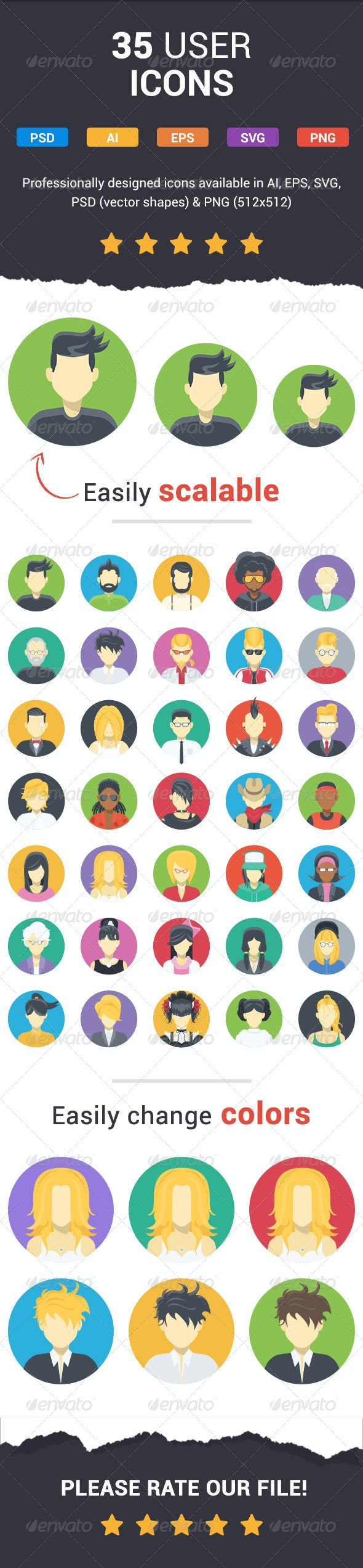 35 Flat User Icons - People Characters