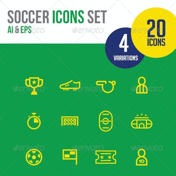 20 Soccer Icons line
