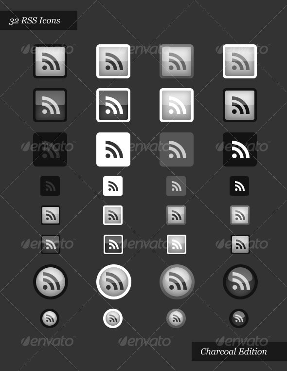 RSS Icons | Charcoal Edition