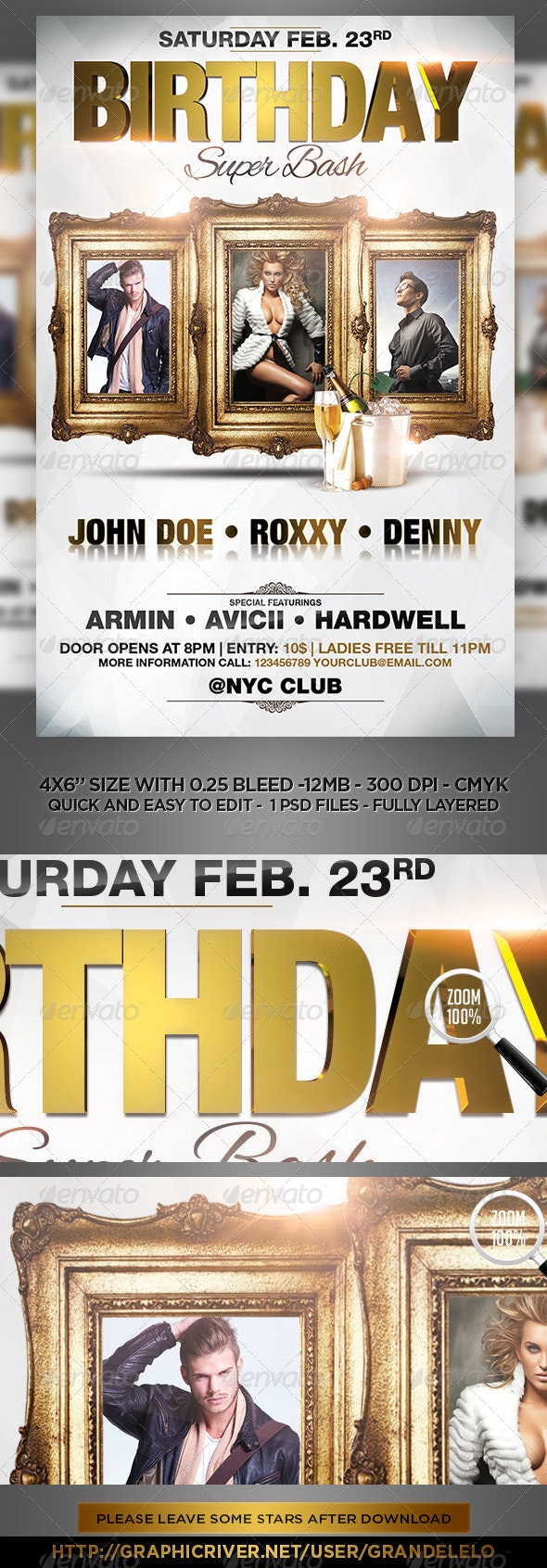 Multiple People Birthday Bash Flyer Template  - Clubs & Parties Events