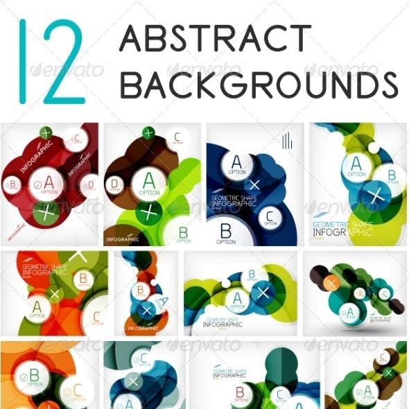 Set of Circle Geometric Backgrounds