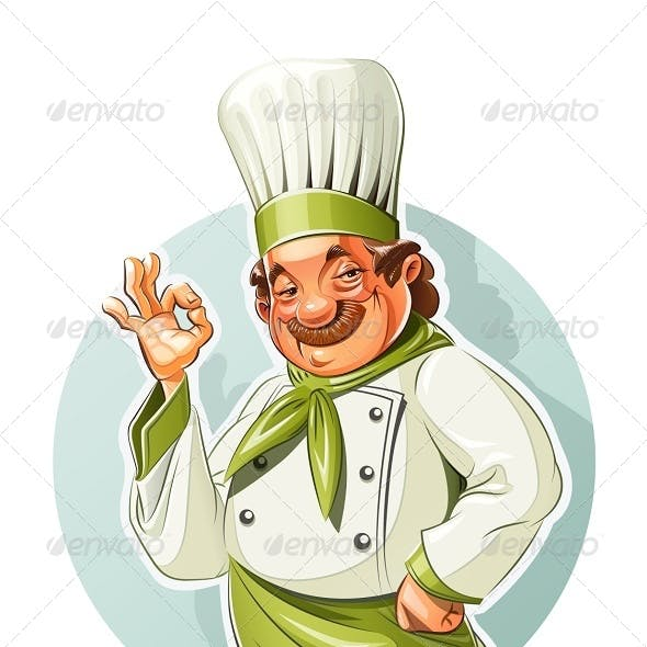 Smiling Cook Shows Okay