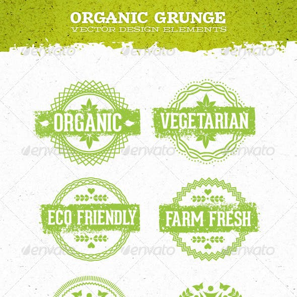 Organic Grunge Eco Natural Vector Elements