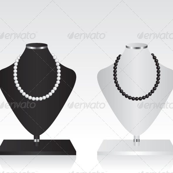 Black and White Mannequin Jewelry Stand