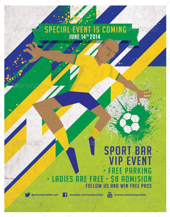 Dynamic Football Poster, Fully Editable. V2 - Sports Events