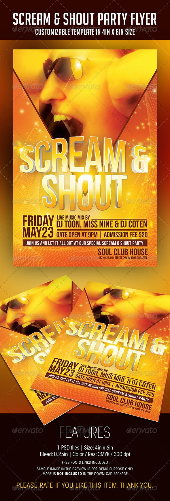 Scream And Shout Party Flyer - Clubs & Parties Events