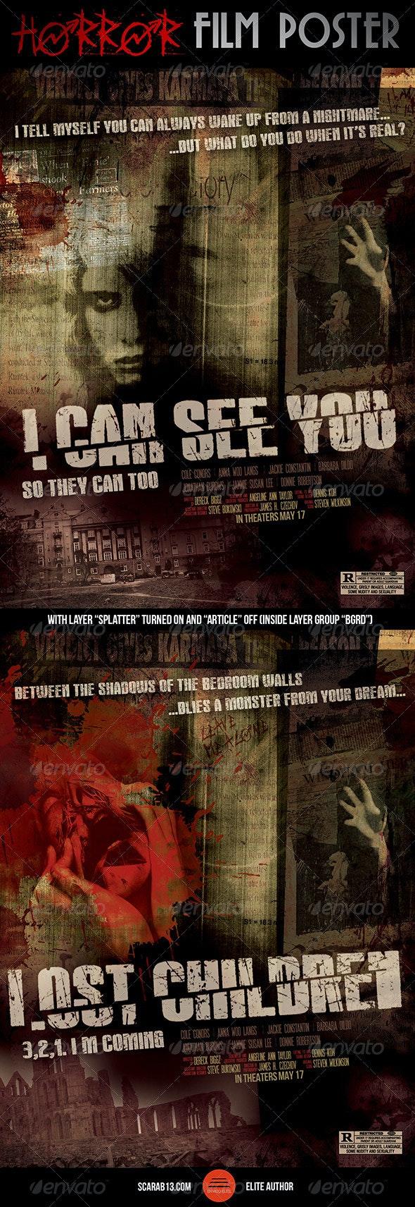 Horror Film Poster - Grunge Business Cards