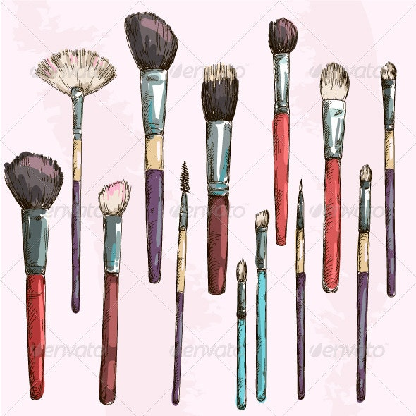 Make Up Brushes Collection - Objects Vectors