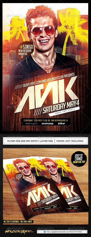 EDM DJ Flyer Template PSD - Events Flyers