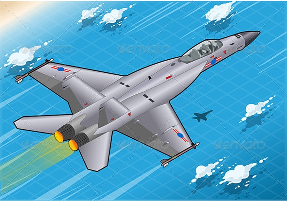 Isometric Fighter Bomber in Flight in Rear View - Objects Vectors