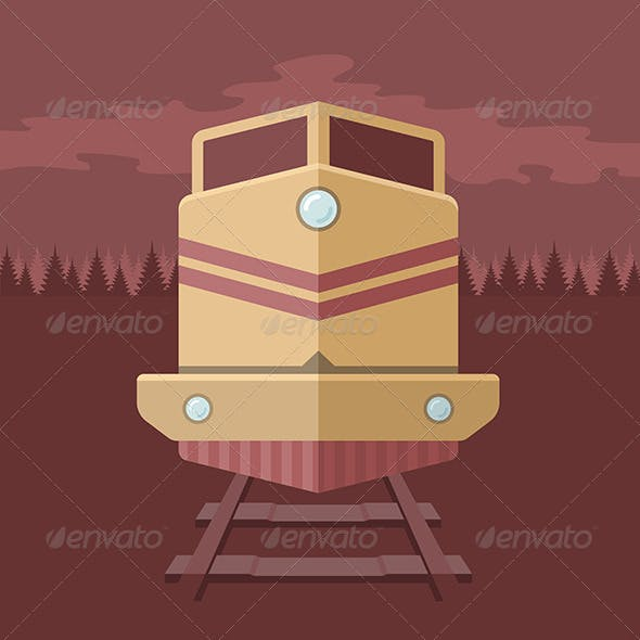 Flat Train Illustration