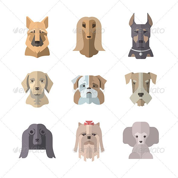 Collection Of Dog Icons In Flat Illustration Style