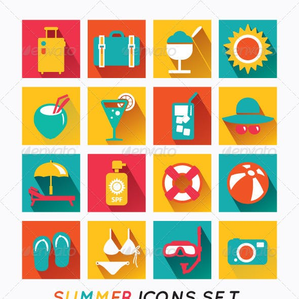 Summer Icons Set Modern Flat Icons.