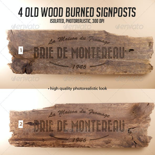 4 Old Wood Burned Signposts Boards Isolated Mockup