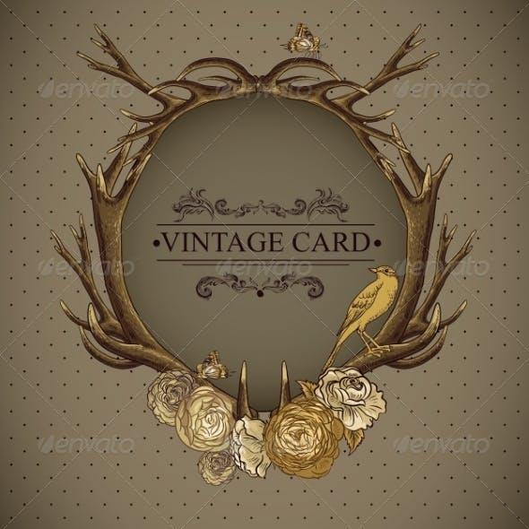 Vintage Roses Card with Deer Antlers