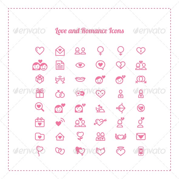 48 Love and Romance Icons
