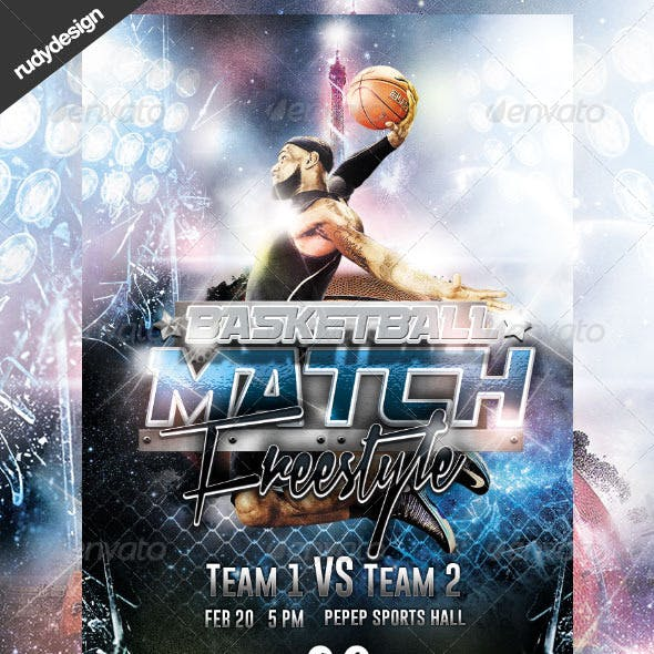 Basketball Freestyle Match Flyer Design