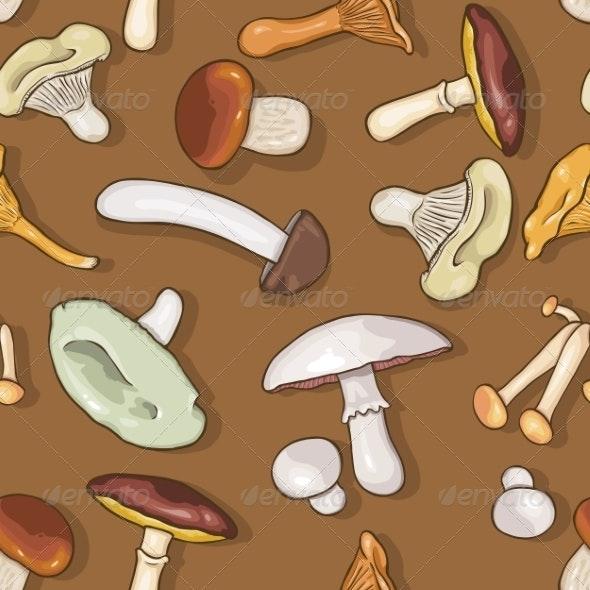 Seamless Pattern of Etible Mushrooms - Patterns Decorative